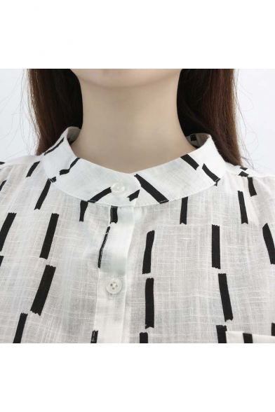 Pocket Pattern Round Neck Button Shirt Down Sleeves Striped Simple Long qvFxwA6p