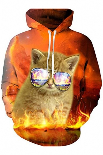 Stylish Cat Sunglasses Flame Fire Pattern Long Sleeves Pullover Hoodie with Pocket