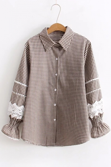 Down Lapel Shirt Plaid Insert Button Long Print Stylish Sleeve Lace 1CqTZ