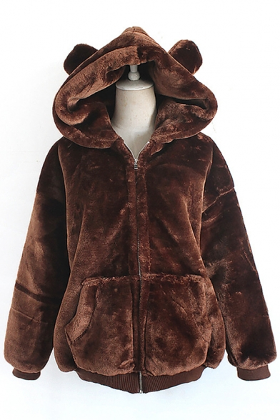 Adorable Plain Bear Ears Zippered Hooded Faux Fur Winter Coat with Pockets