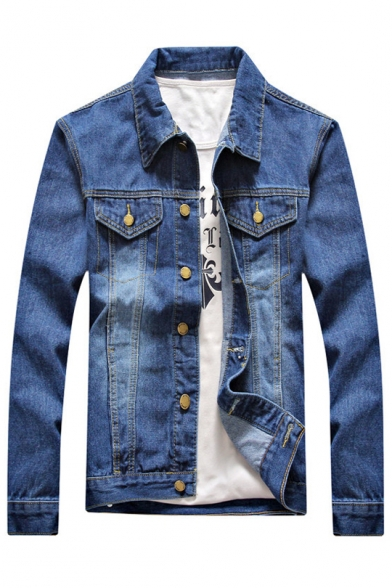 Ripped Pockets with Autumn Fashion Denim Jacket Down Lapel Long Button Sleeves Chest wTwPaxg