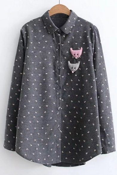 Chic Cat Applique Embellished Polka Dotted Lapel Long Sleeves Button Down Tunic Shirt