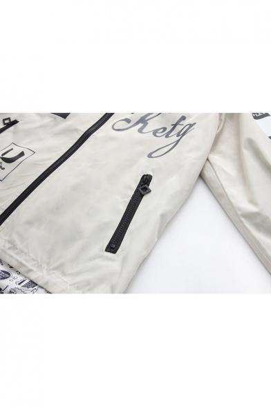 Chic Letter Hammer Print Long Sleeve Zipper Dip Hem Reversible Hooded Coat