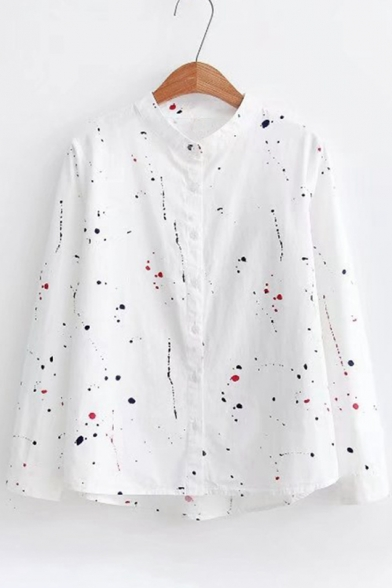 Chic Scrawl Polka Dot Long Sleeve Stand-Up Collar Shirt