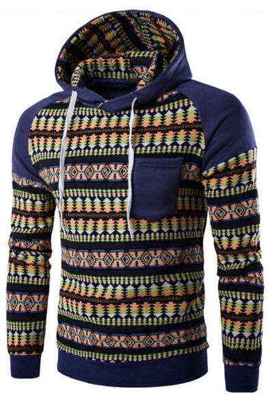 Color Block Tribal Print Long Sleeve Pocket Casual Hoodie