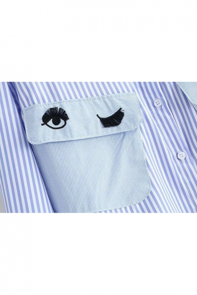 Shirt Eye Letter Lapel Pattern Single Striped Sleeve Breasted Long Embroidery zHxCpqwH