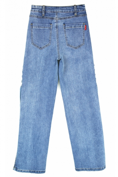 Fancy Split Side Lace-up Button Fly Wide Leg Stylish Light Wash Jeans with Pockets