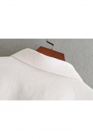 Fashionable Embroidered Pattern Lapel Single Breasted Long Sleeve Denim Jacket
