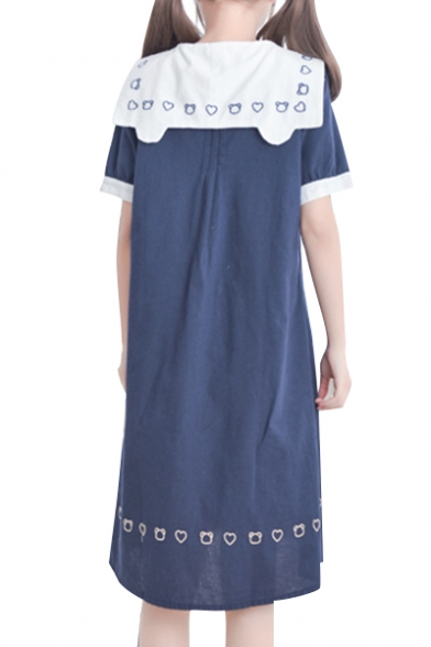 Marine Style Navy Collar Bear Sweetheart Pattern Color Block Swing Midi Dress