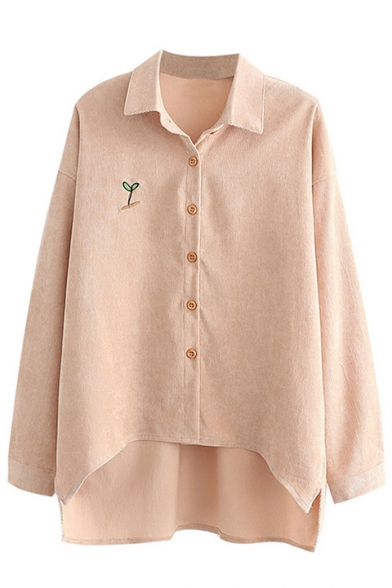 New Arrival Embroidered Lapel Collar Single Breasted Asymmetric Hem Long Sleeve Shirt