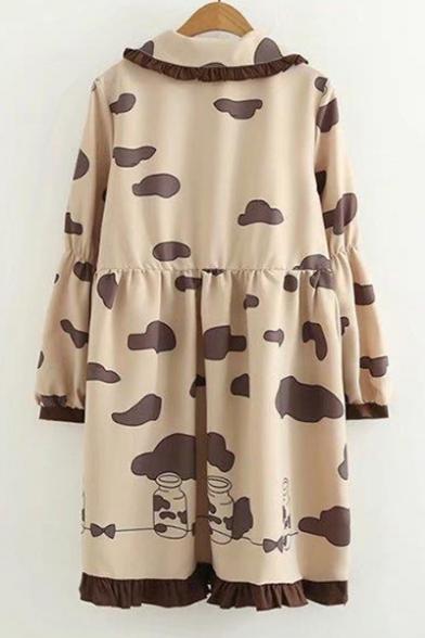 Long Stylish New Dress Cloud Bottle Milk Print Ruffle Sleeve Collared 4H1wX