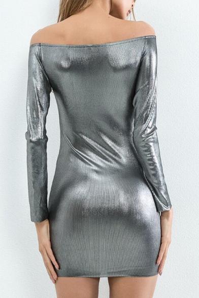 New Stylish Plain Off Shoulder Long Sleeve Bodycon Mini Dress