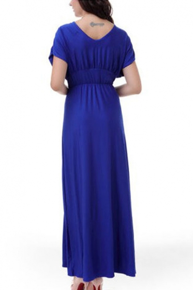 New Stylish Plunge Neck Elastic Waist Plain Maxi Short Sleeve Dress