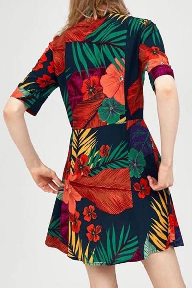 Pop Floral Print Collar Button Half Sleeve Shirt Dress
