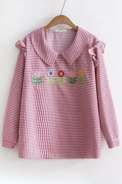 Retro Floral Embroidered Plaid Pattern Lapel Ruffle Long Sleeve Blouse