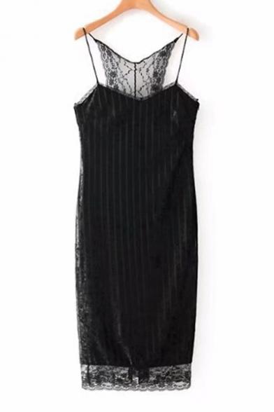 Sexy Spaghetti Straps Floral Lace Panel Slim-Fit Bodycon Mini Pencil Cami Dress