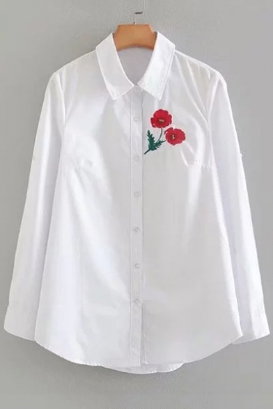 Sleeves Point Simple Down Long Shirt Collar Embroidered Button Floral aqEw7vX