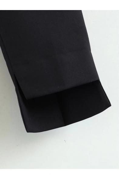 Simple Plain Zip Fly Asymmetric Hem Leisure Pants