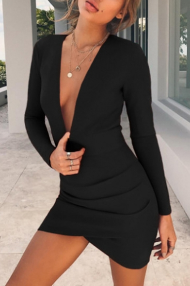 Spring Fashion Plunge Neck Plain Cutout Hollow Back Bodycon Mini Dress