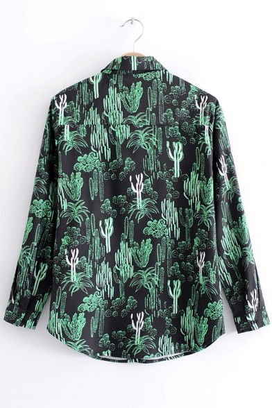Down Shirt Trendy Point Button Pattern Allover Long Sleeves Collar Cactus qTqznwp8