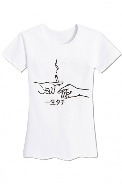 Chic Hand Gesture Cigarette Japanese Printed Round Neck Short Sleeves Casual Tee