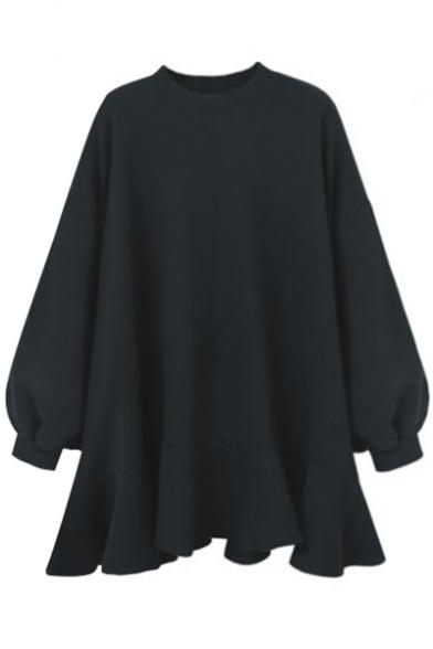 Chic Round Neck Blouson Sleeves Draped Ruffle High Low Hem Plain Sweatshirt Swing Mini Dress