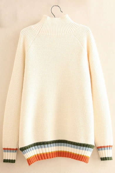 Long Color Pullover Block Sweater Side Sleeve Loose Turtleneck Split fFfgSrU