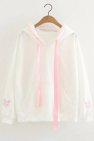 Rabbit Hoodie Long Sleeve Cute Embroidered Ears Embellished Detail FqxUI