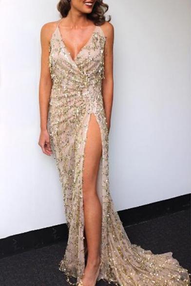 Halter Neck Sequined Dress Maxi cut Back Low Open Embellished Elegant UqSBFEB