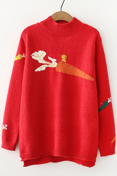 Fashionable Carrot Pattern Long Sleeve High Low Hem Pullover Sweater