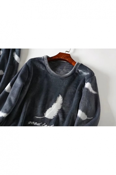 Fashionable Feather Letter Pattern Round Neck Long Sleeve Top Pajamas Co-ords