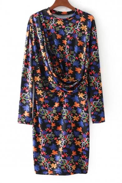 Fashionable Floral Print Round Neck Long Sleeve Mini Dress