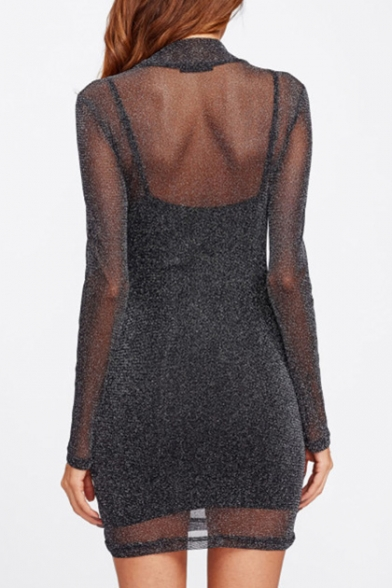 Flashing Sheer Mesh Turtleneck Long Sleeve Mini Two-Piece Bodycon Dress