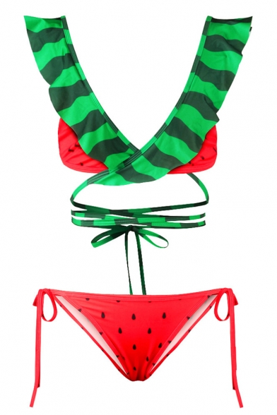 Waist V Tie Pattern Summer Ruffle Bow Bikini Watermelon Neck Girlish XavfqwFAF