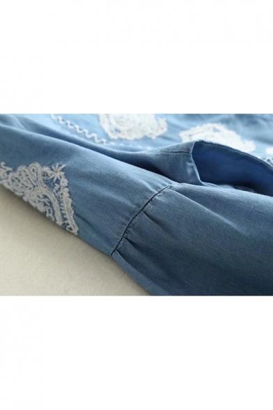 Leisure Button Embroidery Detail Blouson Sleeves Midi A-line Denim Dress