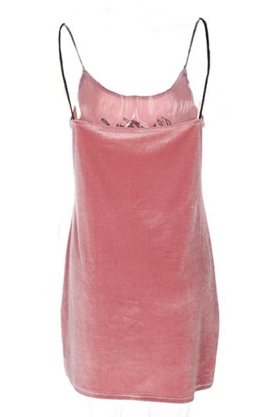 Leisure Spaghetti Straps Letter Embroidered Slim-Fit Cami Shift Velvet Mini Dress