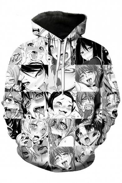 Monochrome Ahegao Cartoon Comic Character Printed Long Sleeves Pullover Hoodie with Pocket