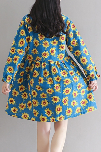 Sunflower Fashion New Print Long Button Sleeve Dress Sq4Fwx4d5O