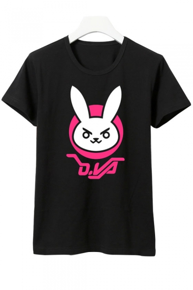 Sleeve Tee Rabbit Print Short New Round Stylish Cartoon Neck pPxAPw4O
