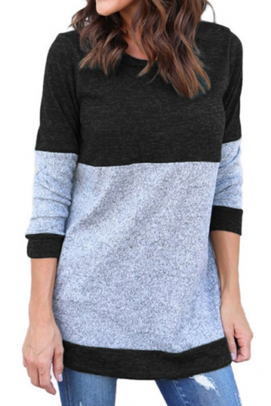Sleeve Pullover Tunic New Long Print Stylish Round Color Neck Sweater Block zxq0w8rz