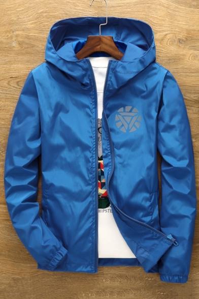 New Stylish Print Long Sleeve Zipper Hooded Coat