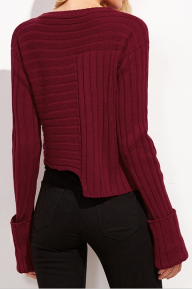 Popular Round Sweater Ribbed Hem Long Pullover Asymmetrical Sleeves Plain Neck rqCwpr