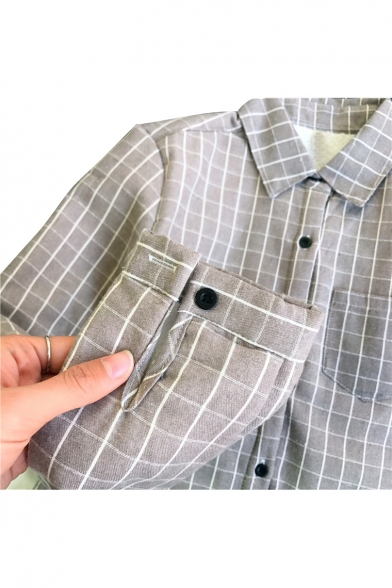 Retro Style Gingham Plaids Point Collar Long Sleeves Button Down Loose Shirt