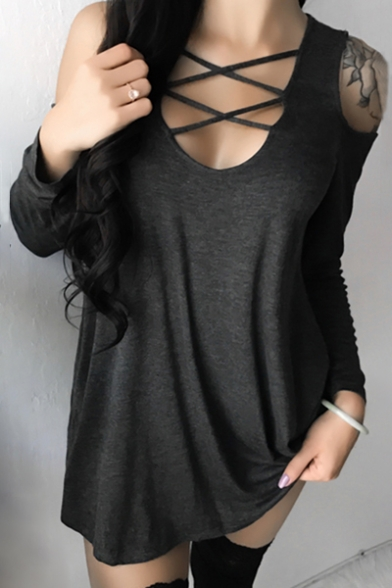 Lace Hollow Autumn Scoop Long Cold Sexy Sleeves Plain Shoulder up Tee Neck aA5wxxUq1