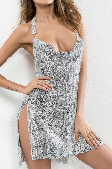 Sexy Metallic Snakeskin Printed Halter Neck Open Back Split Side Mini Dress