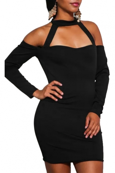 Spring Fashion Plain Halter Neck Cold Shoulder Zip-Back Bodycon Mini Dress