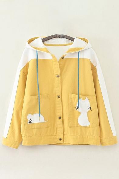 Trendy Cartoon Cat Color Block Pattern Long Sleeve Single Breasted Hooded Coat