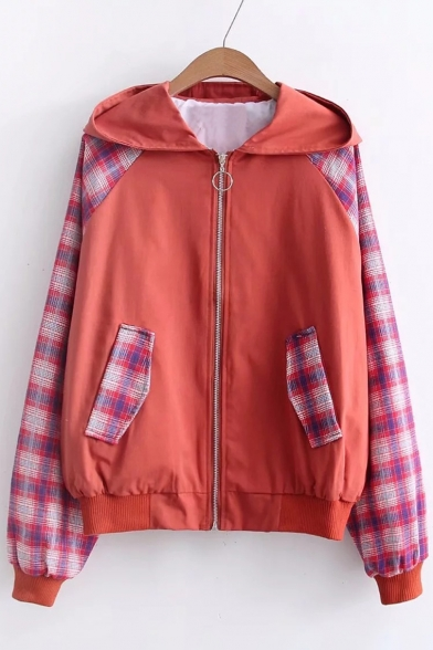 Plaids with Zippered Jacket Patchwork Pockets Color Block Trendy Hooded EfqgBq