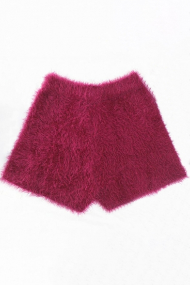 Winter Collection Faux Fur High Waist Plain Slim-Fit Women's Shorts