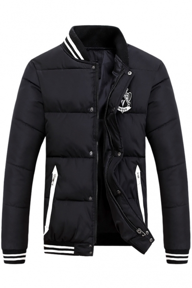 Winter Collection Striped Applique Long Sleeves Zippered Quilted Jacket with Zipped Pockets